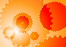 Background with big and small gears orange color stock illustration