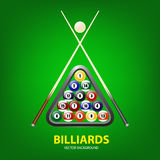Background with billiards balls, triangle and two cues Royalty Free Stock Photo