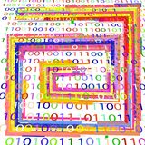 BACKGROUND FROM THE BINARY CODE IMAGE. White background with binary code and geometric shapes of different colors for text vector illustration