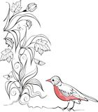 Background with bird and garden plants Royalty Free Stock Photos