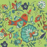 Background with bird, plant and flower. Use as a backdrop, greeting card Stock Illustration