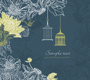 Background with birdcage and flowers Royalty Free Stock Photos