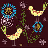 Background with birds. Abstract floral background with birds stock illustration