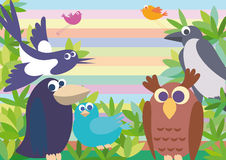 Background with birds. Different birds against a background of leaves and striped sky Royalty Free Stock Photography