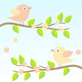 Background with birds on brunches Royalty Free Stock Photo