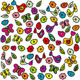 Background with birds, butterflies and flowers Royalty Free Stock Photo