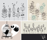 Background with birds and flowers Royalty Free Stock Photo
