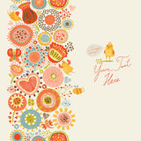 Background with birds and flowers seamless pattern Stock Illustration