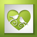 Background with birds and love heart Stock Photos