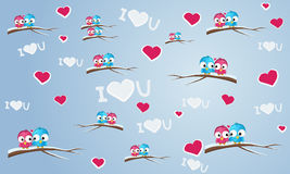 Background with birds. Seamless background with birds and hearts royalty free illustration