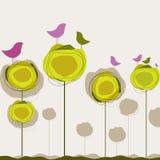 Background with birds, tree. Vector illustration stock illustration