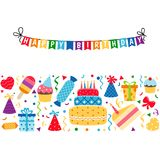 Background with birthday icons set. Birthday card. Background with gift boxes and celebration design elements Royalty Free Stock Photo