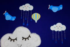 Background for birthday party, with airplanes, balloons and clouds smiling in a beautiful blue sky stock illustration