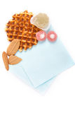 Background biscuits, waffles, fruit jelly and fork and napkin isolated Royalty Free Stock Image