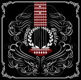 Background with black acoustic guitar Stock Photos