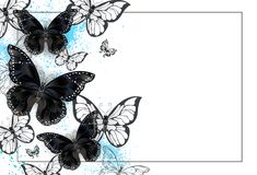 Background with black butterflies Royalty Free Stock Photos