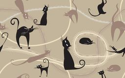 Background with black cats Royalty Free Stock Image