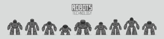 Background of Black Different Robots. Isolated on gray background Royalty Free Stock Photo