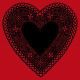 background black doily heart lace red Στοκ Εικόνες