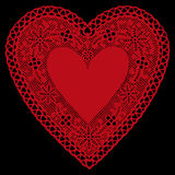 background black doily heart lace red 库存例证