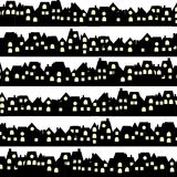 Background with black doodle houses. Skylines royalty free illustration