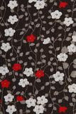 Background black fabric with red and white flowers Royalty Free Stock Image