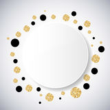 Background with black and gold glittering circles . Vector illustration. Royalty Free Stock Image
