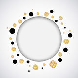 Background with black and gold glittering circles . Vector illustration. Royalty Free Stock Photos
