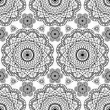 Background with black mehndi floral henna seamless lace buta decoration items in Indian style. Royalty Free Stock Photos