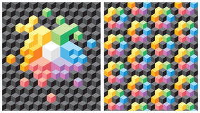 Background with black and multicolored cubes. Two backgrounds with pseudo-3d black and multicolored cubes. Seamless vector pattern Royalty Free Stock Photos