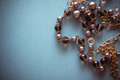 Background with black pearls necklace Royalty Free Stock Photography