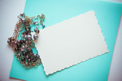 Background with black pearls necklace Stock Image