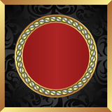 Background. Black red background with gold frame Royalty Free Stock Photos
