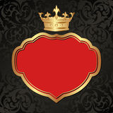 Background. Black and red background with golden crown Royalty Free Stock Photos
