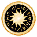 background black signs sun zodiac Royaltyfri Foto