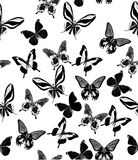 Background with black tropical butterflies Royalty Free Stock Images