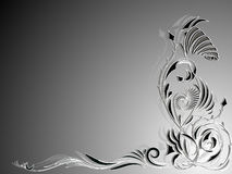 Background in black and white with abstract floral ornament in the corner Royalty Free Stock Photos