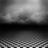 Background with black and white floor and clouds Royalty Free Stock Photos