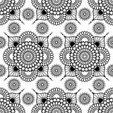 Background with black and white mehndi henna seamless floral lace buta decoration items on white background in Indian style. Royalty Free Stock Photos