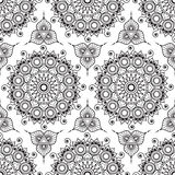 Background with black and white mehndi henna seamless lace buta decoration items Royalty Free Stock Images