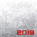 Background with a BW pixels and with a red 2019 inscription. Vec royalty free stock photos