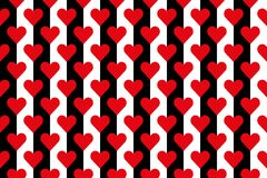 Black and white stripes with red hearts. Background of black and white stripes with red hearts Stock Photography