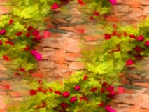 Background of blooming red roses on stonewall. Digital painting Stock Images