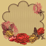 Background with blooming roses, lace napkin and butterflies. Vec Royalty Free Stock Images