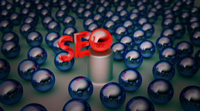 Background with blue balls seo. Background with balls and the word seo stock illustration