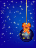 Background with blue christmas ball Stock Photography