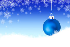 Background with blue christmas ball in the snow Stock Photography