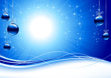 Background with blue Christmas balls Royalty Free Stock Images