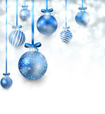 Background with blue christmas balls. Royalty Free Stock Images