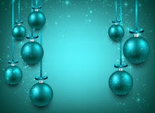 Background with blue christmas balls. Abstract background with blue christmas balls. Vector illustration Stock Photos